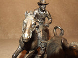 Cowboy Herding a Steer Bronze Coloured Resin - Veronese Studios - Vintage Retro And Vinyl - 11