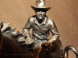 Cowboy Herding a Steer Bronze Coloured Resin - Veronese Studios - Vintage Retro And Vinyl - 9