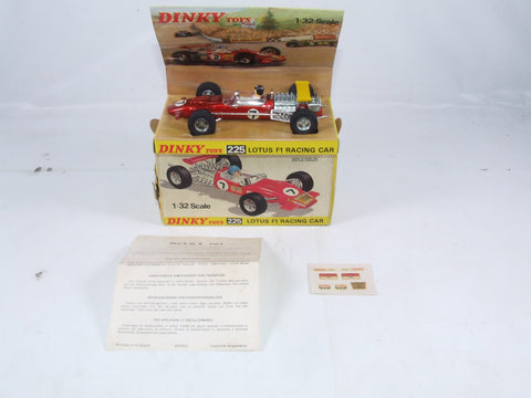 Dinky Toys Lotus F1 Racing Car # 225 Near Mint In Original Box Transfers & Instructions