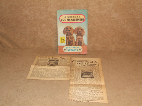 Spratts A guide To Dog Management Vintage Circa 1950's Plus Dog Related Cuttings - Vintage Retro And Vinyl - 1
