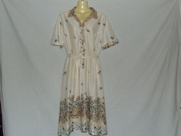 Ladies Dress Cream Beige Pinstripe Flowers Pattern Size 42 Vtg 80's Style - Vintage Retro And Vinyl - 1