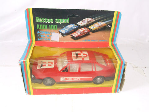 Vintage Friction Drive Rescue Squad Audi 100 LSE Fire Dept. Car Boxed Made in GDR