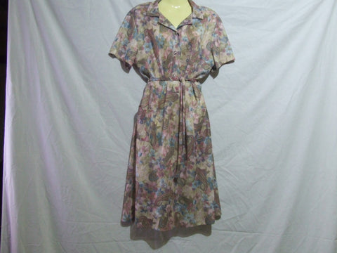 Ladies Dress Paisley Floral Pattern Rose Buttons Size 18 Vintage 80's Style - Vintage Retro And Vinyl - 1