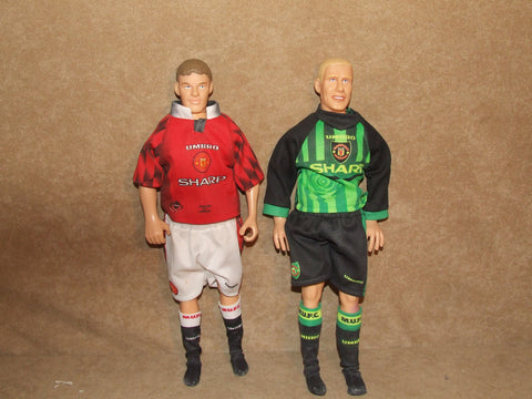 Manchester United Peter Schmeichel And Ole Gunnar Solskjaer Corinthian Large Figures - Vintage Retro And Vinyl - 1