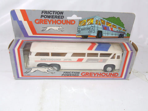 Vintage Friction Powered Greyhound Bus Boxed Made in Hong Kong