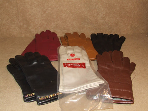 Ladies Gloves 6 SIX Pairs of True Vintage Empire Made Hong Kong - Vintage Retro And Vinyl - 1