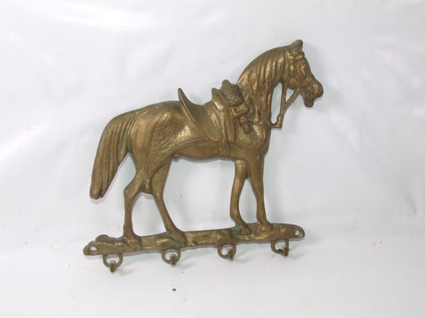 Brass Horse Wall Mount Key Holder Vintage