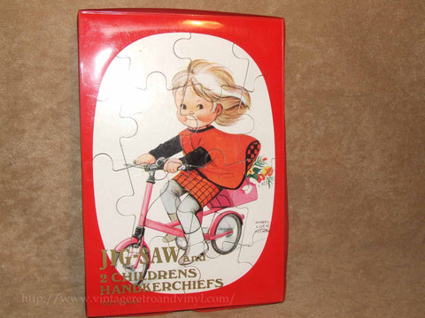 Mabel Lucie Attwell Jigsaw & 2 x Childrens Handkerchiefs - New & Unused In Box - Vintage Retro And Vinyl - 1
