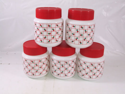 Kitchen Red & White Glass Storage Jars Retro Original x 5