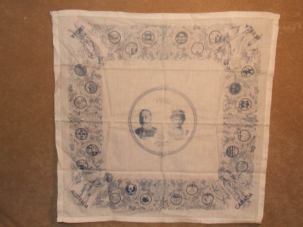 King George V And Queen Mary Silver Jubilee 1910 To 1935 Handkerchief - Vintage Retro And Vinyl - 1