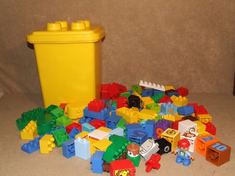 LEGO DUPLO Tub Of Bricks 1KG+ Various Including Figures - Vintage Retro And Vinyl - 1