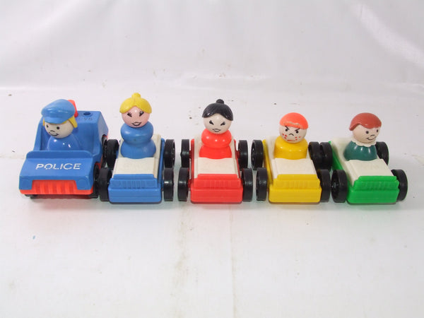 Fisher Price Little People 5 Cars With Little People Vintage