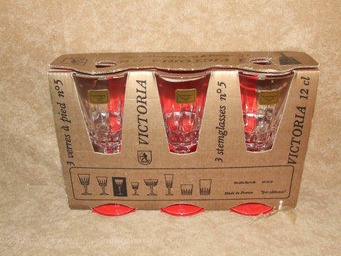 Luminarc Victoria Set Of 3 Crystal Stem Glasses Original Box - French - Vintage - Vintage Retro And Vinyl - 1