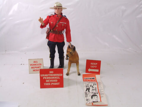 Action Man Canadian Mountie With Brutus & Signs Painted Blond Head 1960's
