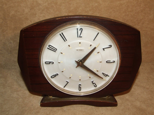 Metamec Wind Up Mantle Bedside Clock With Alarm Wooden Vintage Working
