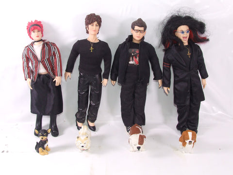 "The Osbourne Family Action Figure Dolls With Their Pet Dogs 12"" Approx"