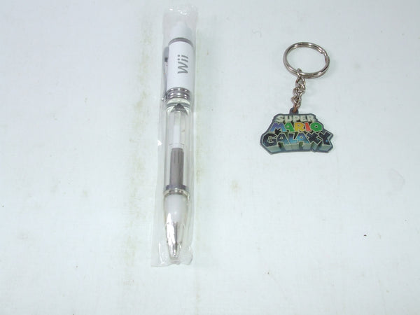 Nintendo Official Wii Promotional Launch Pen & Super Mario Galaxy Keyring