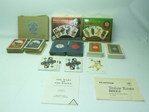 Piatnik Playing Cards Bundle Thoroughbreds Tudor Rose & Shakesphere Collectable