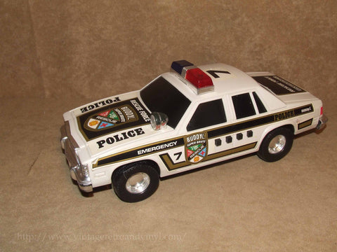 Rescue Force Police Car With Lights & Sound Effects - Buddy L - Plastic - Batt Op - Vintage Retro And Vinyl - 1