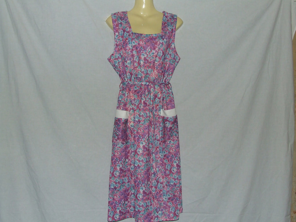 Ladies Dress Pink Floral Pattern Sleeveless Patch Pockets Size 18 Vintage 1980's - Vintage Retro And Vinyl - 1