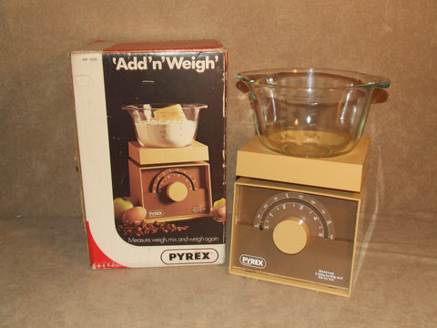 Pyrex Add N Weigh Kitchen Scales And Bowl Boxed Vintage Lbs Ozs And Kilograms