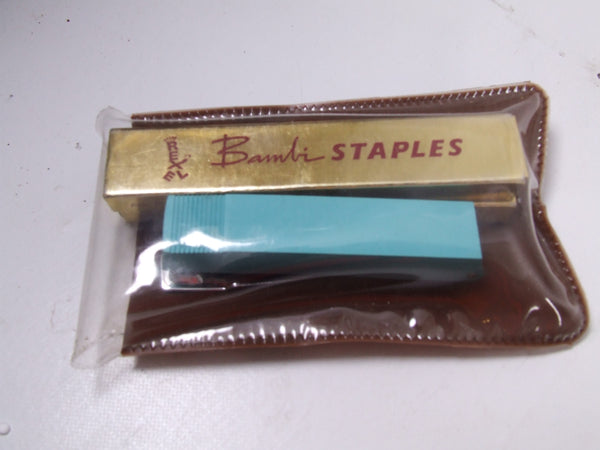 Rexel Blue Bambi Stapler In Brown Plastic Case With Staples