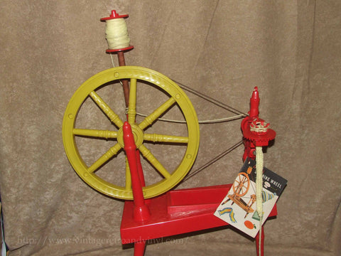 Little Red Childs Working Spinning Wheel & Inst Cobex Style- Remco - Vint 1960's - Vintage Retro And Vinyl - 1
