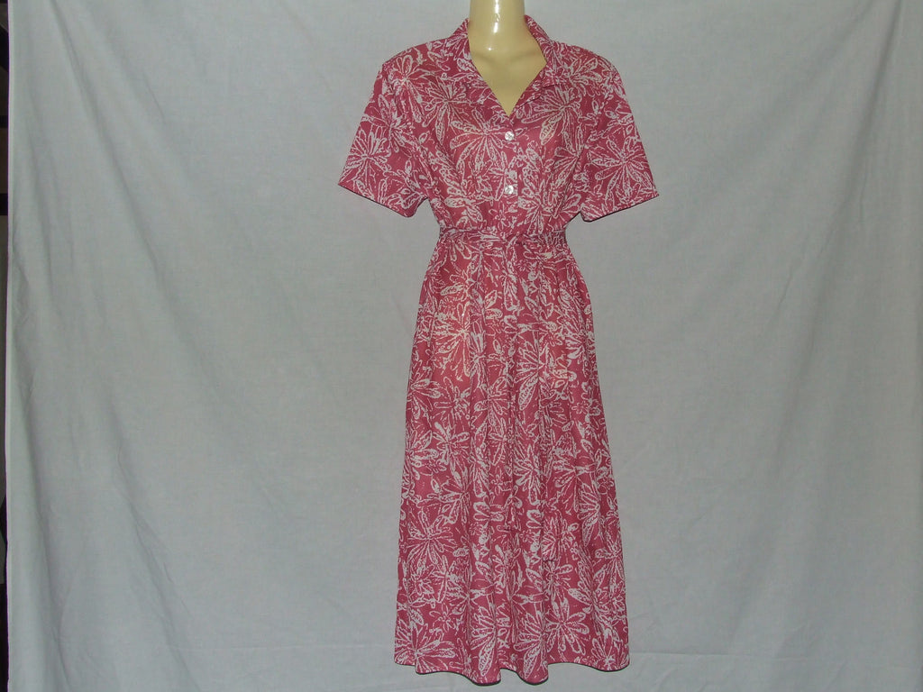 Ladies Dress Red Pink And White Floral Pattern Size 18 Vintage 80's Style - Vintage Retro And Vinyl - 1