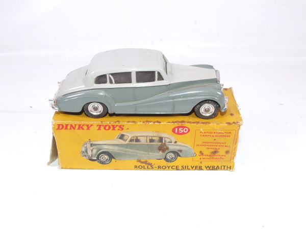 Dinky Toys Rolls Royce Silver Wraith # 150 In Original Box 1959-1964