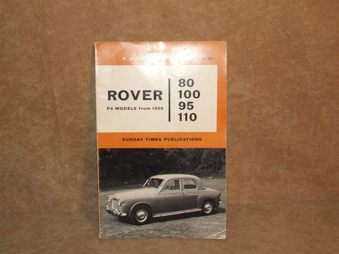 Rover P4 80 95 100 110 Saloon ( 1959 - 1963 ) Owners Repair Manual - Vintage Retro And Vinyl - 1