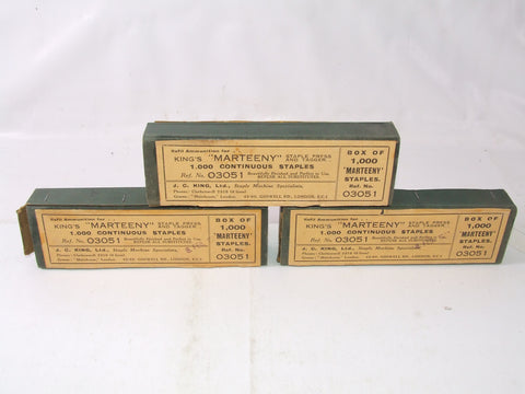 3 Boxes Of Staples For Kings Marteeny Staple Press & Tagger Vintage 1940 Plus Advertising Flyer