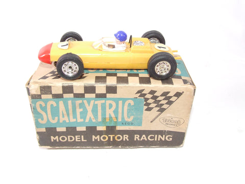 Scalextric Porsche Racing Car Boxed 1960s C/73 Yellow With Blue Helmet Driver