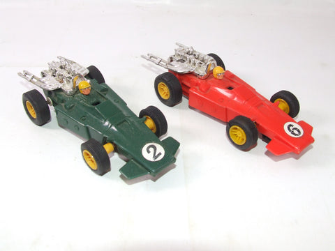 2 x Scalextric Scaletti Arrows Red 6 & Green 2 #C23 1970s