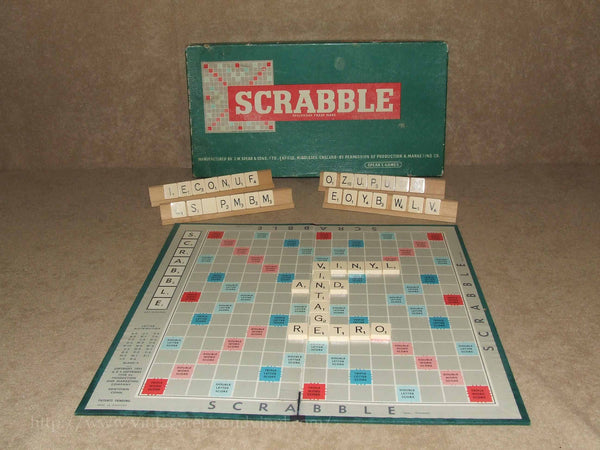 Spears Games Scrabble - Complete 100 Tiles & Wooden Racks - 1955 - Vintage Retro And Vinyl - 1