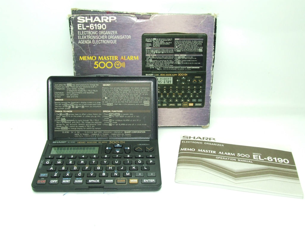 Sharp EL-6190 Electronic Organizer Memo Master Alarm 500 Boxed With Instructions