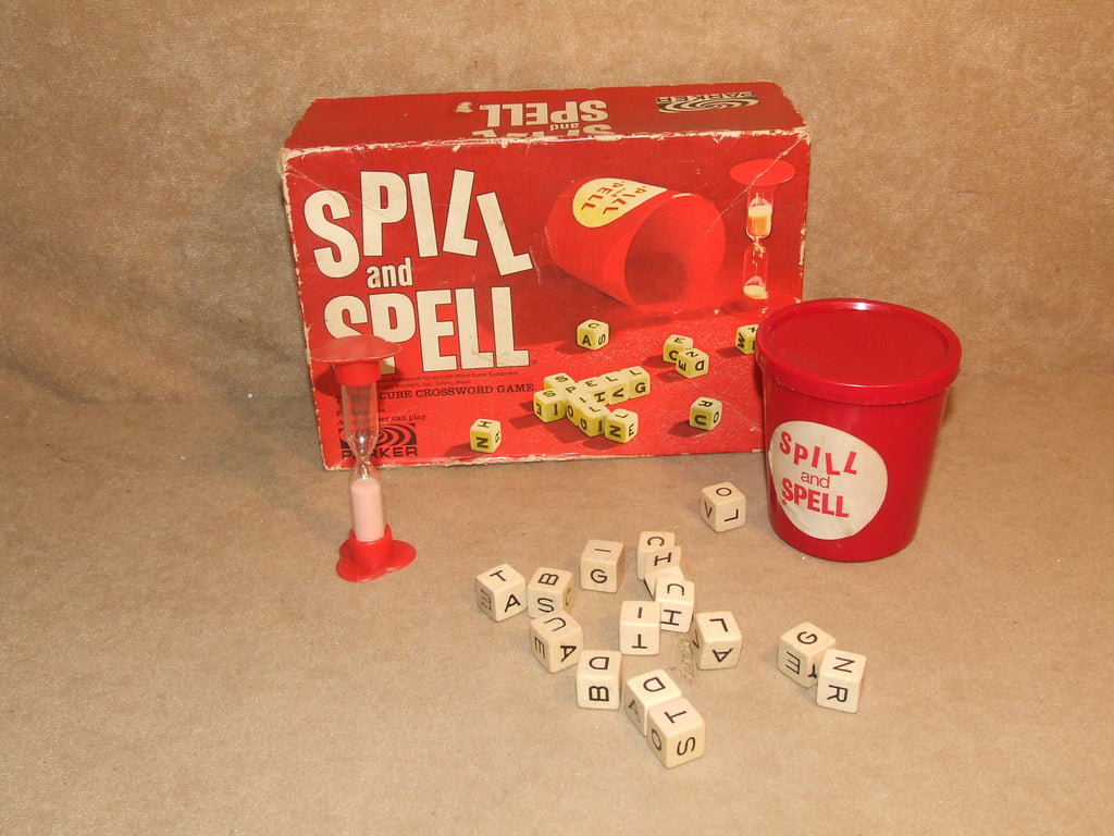 Spill And Spell By Parker Boxed And Complete Vintage 60's 15 cube crossword game - Vintage Retro And Vinyl - 1