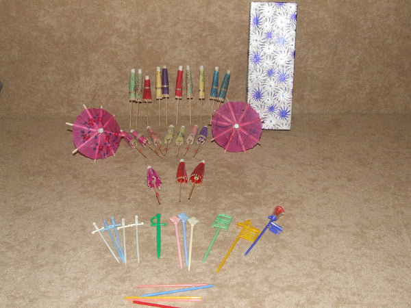 Collection of Plastic Cocktail/Swizzle Sticks/Umbrellas - Vintage - In Box - Vintage Retro And Vinyl - 1