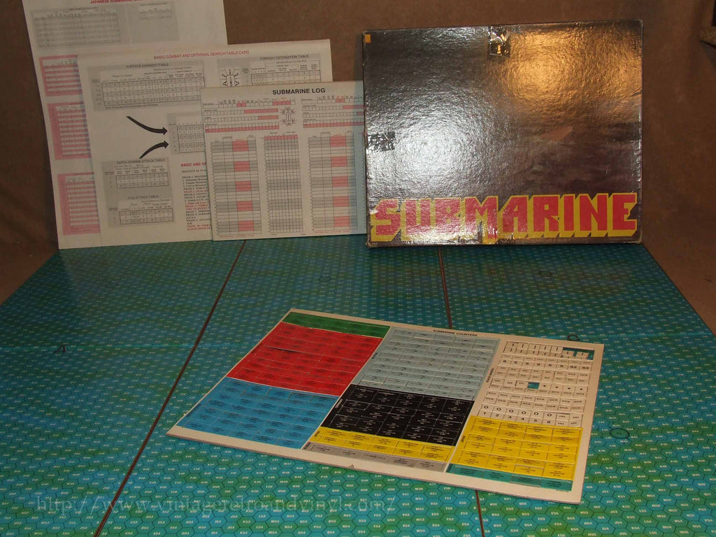 Submarine WWII Board Game - Avlon Hill - Some Tokens Still Carded Vintage 1970s - Vintage Retro And Vinyl - 1