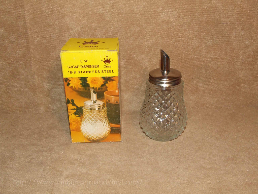 Sugar Dispenser/Shaker 6oz Cut Glass- Boxed - Grace - Vintage Made In Hong Kong - Vintage Retro And Vinyl - 1