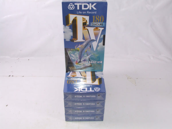 5 TDK 180 Blank Sealed VHS Tapes For Daily Use PAL