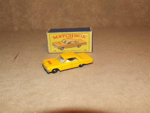 Lesney Matchbox Series Chevrolet Impala Taxi Boxed No 20c Reg Wheels VTG 1960's - Vintage Retro And Vinyl - 1