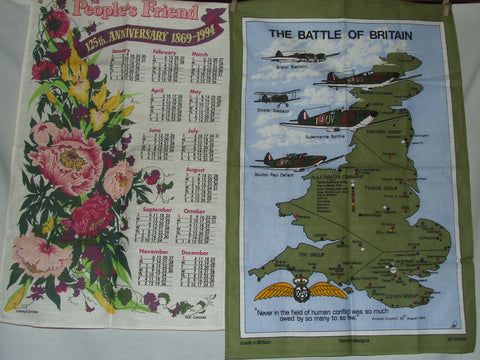 3 x Commemorative Tea Towels People Friend Battle Of Britain Welsh Language NEW - Vintage Retro And Vinyl - 1