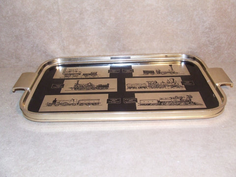 Serving Tray Gold Metal With Railway Trains Locomotives Woodmet Vintage 1960's - Vintage Retro And Vinyl - 1