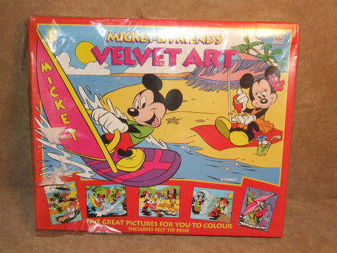 Mickey And Friends Velvet Art Set New And Sealed - Vintage Retro And Vinyl - 1
