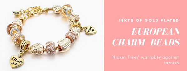 b2fa87269 EUROPEAN CHARMS BEAD BRACELET AND CHAIN 18K OF GOLD PLATED – Raf ...
