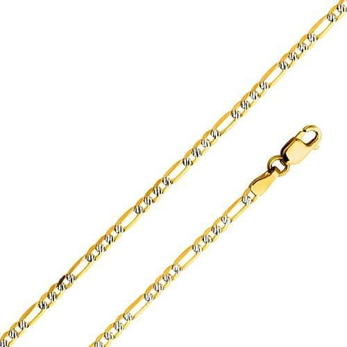 2.5mm Figaro Silver Pave in 18kts of Gold Plated Chains
