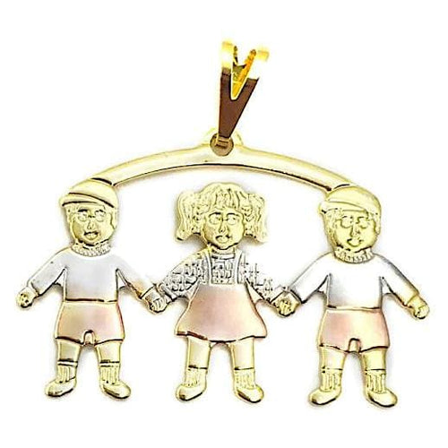 2 Boys 1 Girl Kids Pendant Three Tones in 18kts of Gold Plated charms