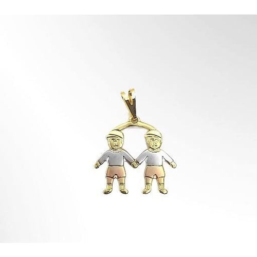 2 Boys Kids Pendant Three Tones in 18kts of Gold Plated charms