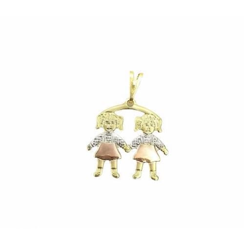 2 Girls Kids Pendant Three Tones in 18kts of Gold Plated charms