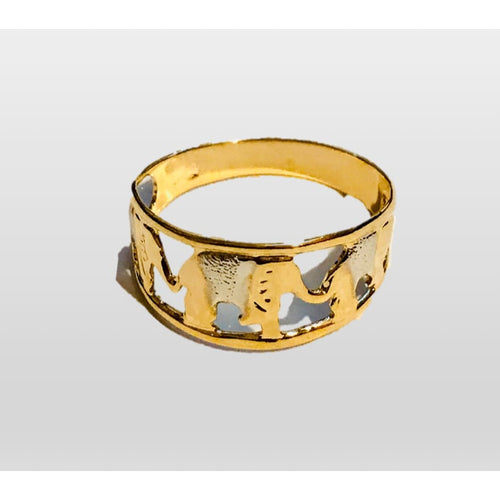 2 Tones Elephant Gold Plated Ring Rings